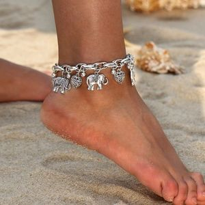 Jewelry - Anklet Chunky Silver with Elephant & Heart Charms